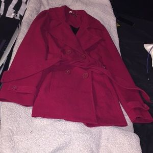 red button down pea coat
